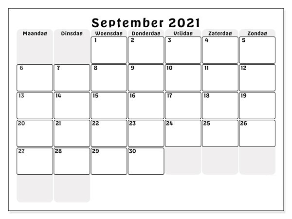 Kalender 2021 September Drucken